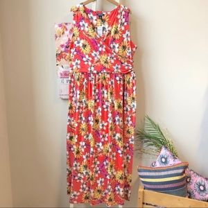Land's End Floral Plus Size Sleeveless Maxi Dress